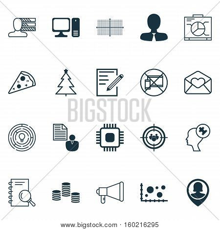 Set Of 20 Universal Editable Icons. Can Be Used For Web, Mobile And App Design. Includes Elements Such As Innovation, Desktop Computer, Sliced Pizza And More.