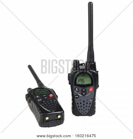 two portable radio stations on a white background isolated