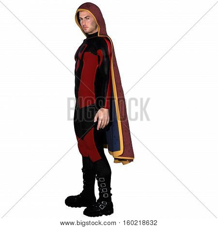 One young man in a super suit and a red cloak. It stands on the left side of the body. 3D rendering, 3D illustration