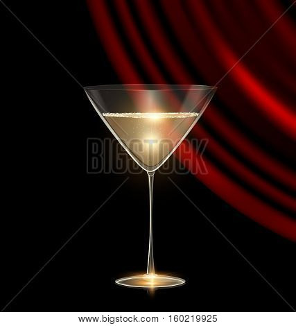 black background and the large glass of champagne or white wine with dark red drape