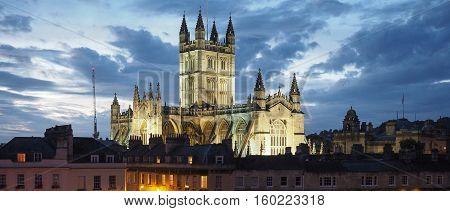 Bath Abbey In Bath At Night