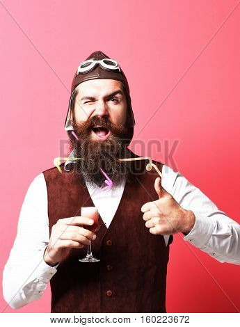 Funny Handsome Bearded Pilot