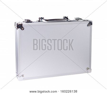 Isolated on white background closed steel case