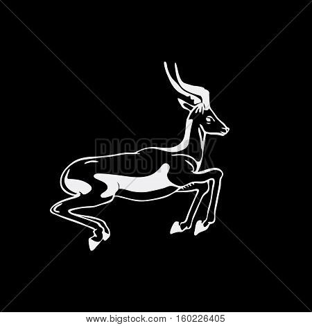 Hand-drawn pencil graphics, antelope, roe. Engraving, stencil style. Black and white logo, sign, emblem, symbol. Stamp, seal. Simple illustration. Sketch.