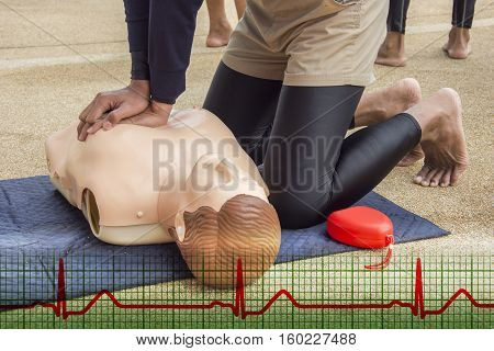 cpr training dummy case arrest from drowning and normal sinus rhythm