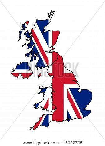 Uk Map With Flag