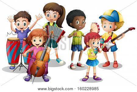 Children in band playing different instruments illustration
