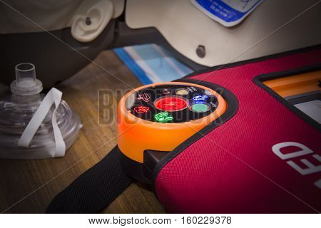 cpr with aed training select focus red button