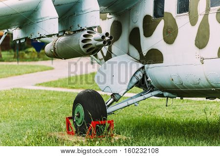 Chassis And Suspension Of Military Weapons On Pylon Of Soviet Russian Military Helicopter.