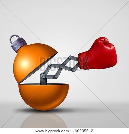 Boxing day sale concept as an open festive christmas decoration ornament with a surprise boxing glove emerging as a winter retail discount promotion symbol with 3D illustration elements.