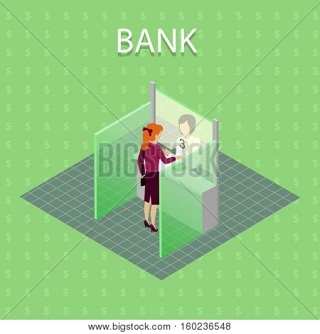 Bank concept vector concept in isometric projection. Read-head woman gives money cashier on cash register. Illustration for business, finance companies ad, apps design, icons, infographics.