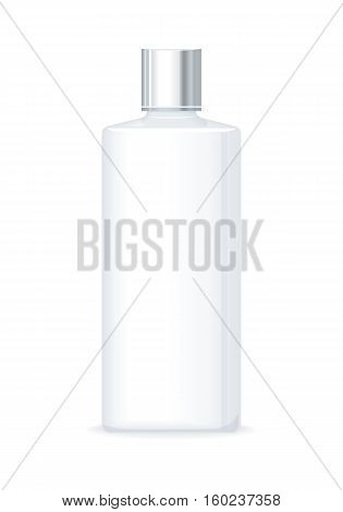 Lotion or shower gel bottle isolated on white. Empty cosmetic product tube. Reservoir without label. No logo or trademark on flask. Part of series of decorative cosmetics items. Vector illustration