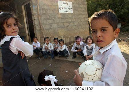 QANDİL,IRAQ-OCTOBER 24, 2007: Iraqi School Children in Kurdistan,Iraq.