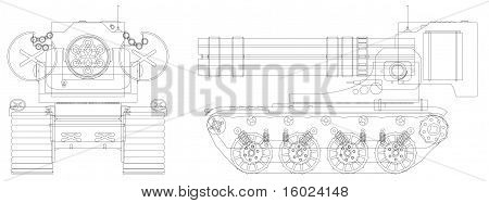 Drawing A Self-propelled Heavy Machine Gun