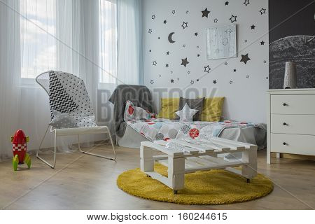 White, Grey And Yellow Bedroom