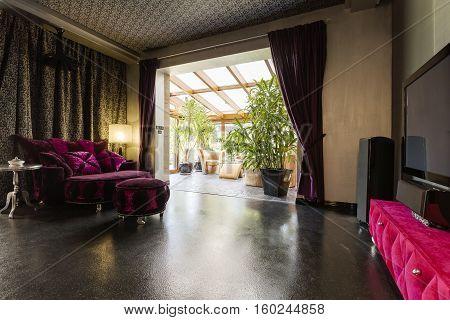 Dark Lounge Room With Veranda