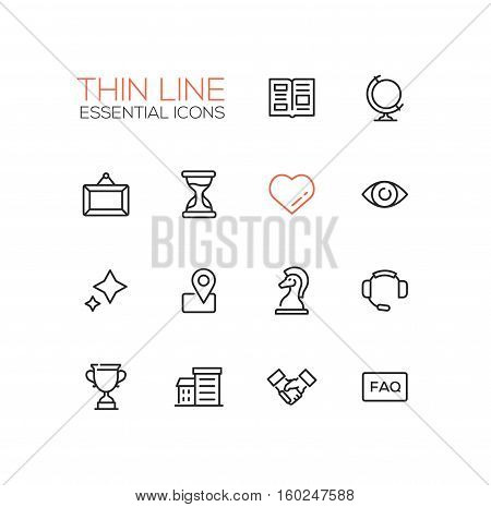 Business Essential - modern vector simple thin line design icons and pictograms set. Newspaper, globe, picture, hourglass, heart, eye, stars, location, chess piece, headset, cup building handshake faq