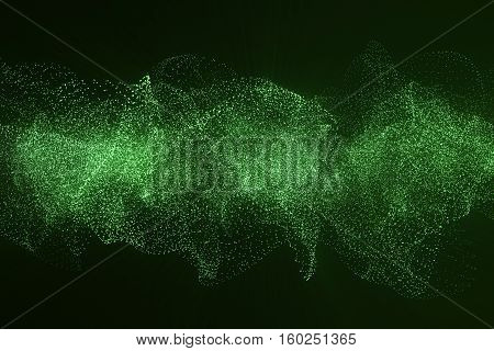 3d rendering Hi-tech digital terrain, green abstract space on dark background with connecting dots and lines