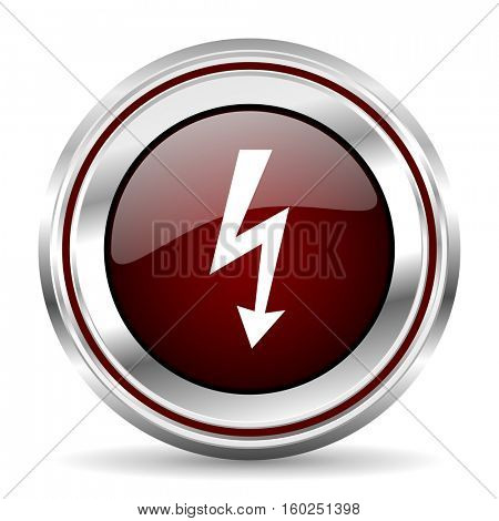 bolt icon chrome border round web button silver metallic pushbutton
