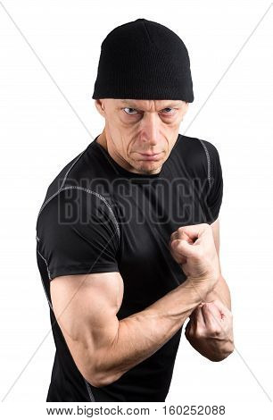 Angry Ready To Fight Man In Black Isolated On White