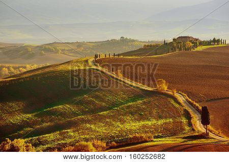 Famous landscape with Gladiator road in Tuscany, Italy. Natural background.