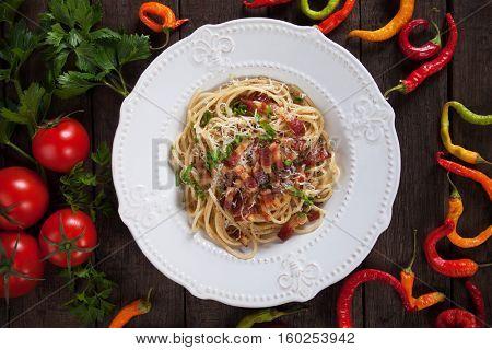 Italian pasta carbonara, spaghetti with pancetta, egg and cheese sauce