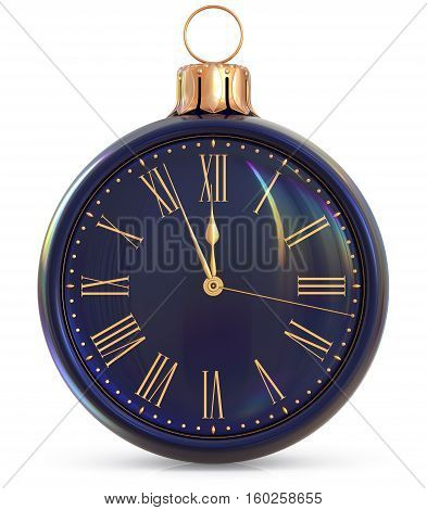 New Year's Eve clock midnight hour countdown pressure Christmas ball decoration ornament black gold sparkly adornment bauble. Seasonal happy wintertime holidays beginning future time. 3d illustration