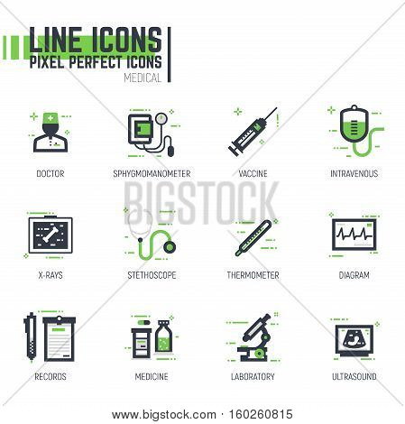 Set of pixel thick line style medical icons. Hospital and clinic items. Black and green colors with abstract lines and pixel dots.