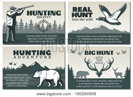 Four compositions set with hunting emblem designs wild birds animals and hunter silhouettes and editable text vector illustration