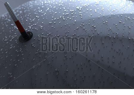 Umbrella with rainy drops close up. 3D illustration