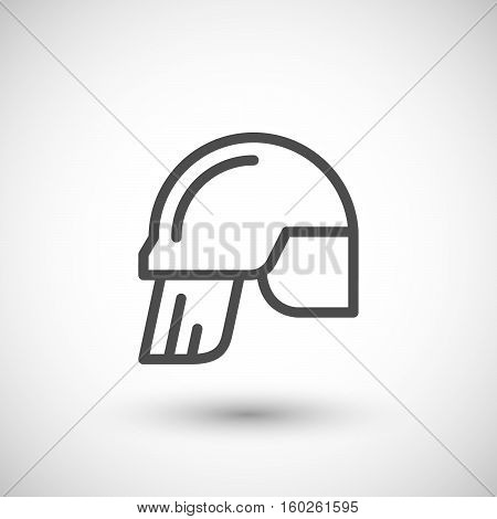 Fireman helmet line icon isolated on grey. Vector illustration