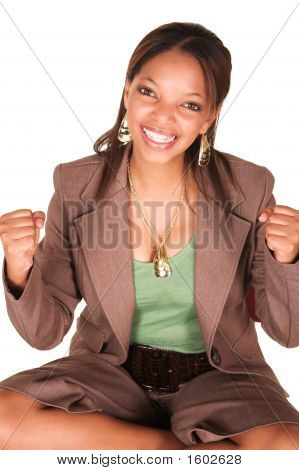 Ecstatic Successful African Businesswoman Isolated On White