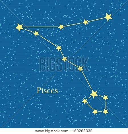 Pisces zodiac symbol on background of cosmic sky. Twelfth astrological sign in the Zodiac, originating from the Pisces constellation. Horoscope sign of zodiac. Astrology and mythology concept. Vector