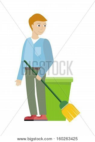 Cleaning service concept vector. Flat style design. Smiling man character standing with broom in hand. Small private business. Illustration for housekeeping companies and services advertising