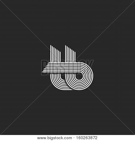 Letters Tb Logo Parallel Lines Monogram, Combination T B Overlapping Symbols Nifty Hipster Emblem, B