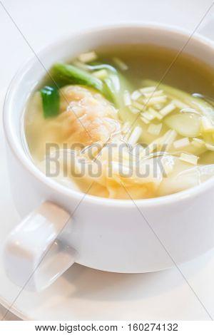 Shrimps Wonton dumpling Soup, groumet chinese cuisine