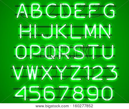 Glowing Green Neon Alphabet with letters from A to Z and digits from 0 to 9 with wires tubes brackets and holders. Shining and glowing neon effect. Vector illustration.