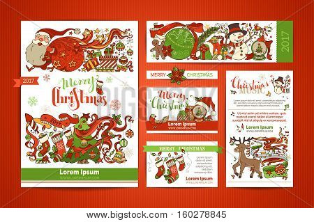 Set of corporate Christmas templates. Vector design elements. A4 paper business cards banners. Christmas tree and Christmas balls Santa with sack snowman gingerbread man Santa socks lettering.