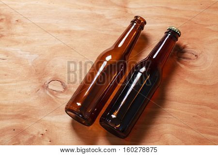 Beer Bottles On Wood
