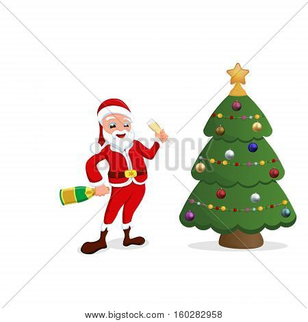 Santa Claus with Christmas toys and candy vector illustration