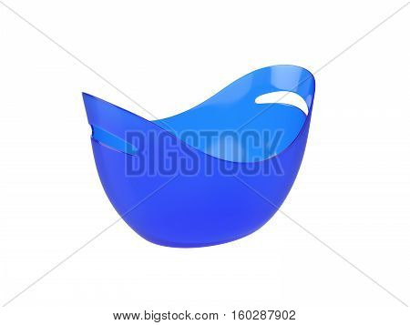Oval blue plastic bucket Isolated on White Background, 3D rendering
