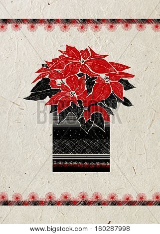 Christmas greeting card with hand drawn Poinsettia flower and festive ornament on beige rice paper background. Isolated.