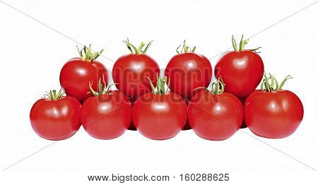 A few red tomatoes isolated on white background