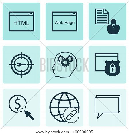 Set Of 9 Marketing Icons. Can Be Used For Web, Mobile, UI And Infographic Design. Includes Elements Such As Consulting, Client, Brain And More.