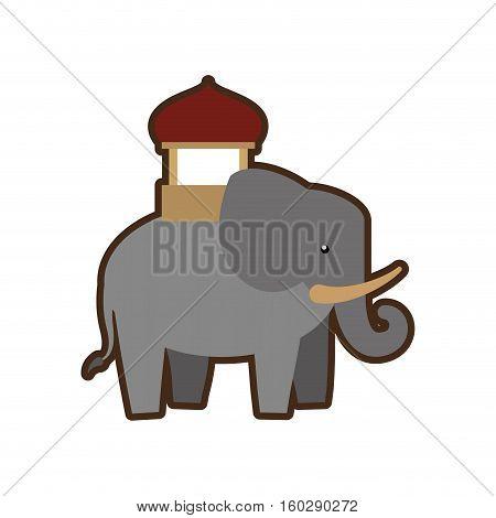 cartoon indian elephant ornament annual festival vector illustration eps 10