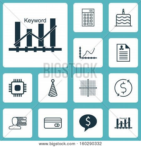 Set Of 12 Universal Editable Icons. Can Be Used For Web, Mobile And App Design. Includes Elements Such As Business Deal, Achievement Graph, Curriculum Vitae And More.