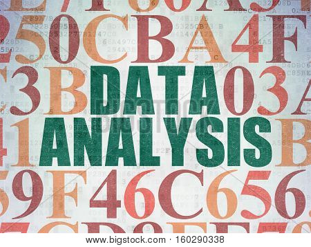 Data concept: Painted green text Data Analysis on Digital Data Paper background with Hexadecimal Code