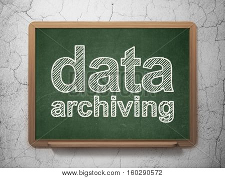 Data concept: text Data Archiving on Green chalkboard on grunge wall background, 3D rendering
