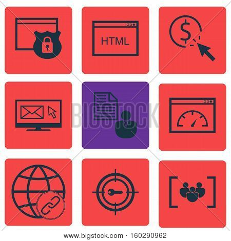 Set Of 9 Marketing Icons. Can Be Used For Web, Mobile, UI And Infographic Design. Includes Elements Such As Businessman, Click, Pay And More.