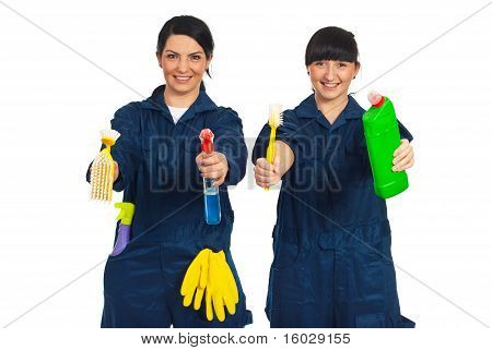 Workers Women Showing Cleaning Products